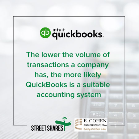 The lower the volumen of transactions, QuickBooks is a suitable option for accounting.