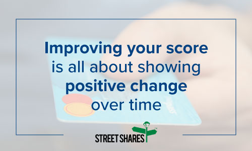 Improving your credit score is all about showing positive change over time.
