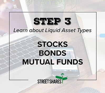 Step 3: Learn about Liquid Asset Types, Stocks, Bonds, Mutual Funds